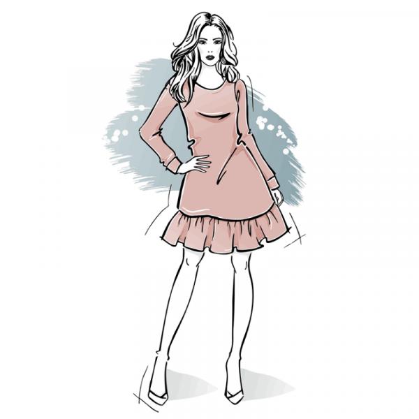 wykroj na sukienke damska z falbanka