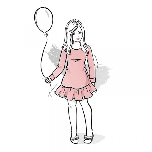 wykroj na sukienke dziewczeca z falbanka na dole