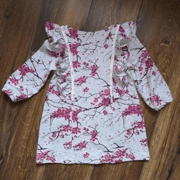 sukienka dziewczeca A wykroj online falbanki