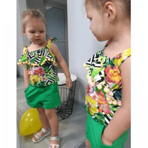 szorty dziewczece wykroj online i bluzka