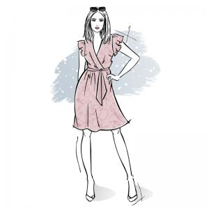 wykroj na sukienke damska kopertowa z falbana