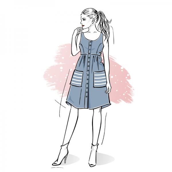 wykroj na sukienke damska zapinana na guziki