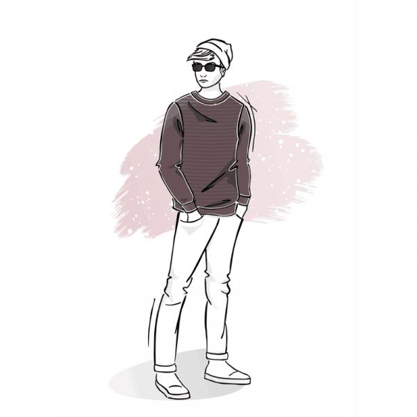 Wykrój na bluzę męską z rękawem główkowym