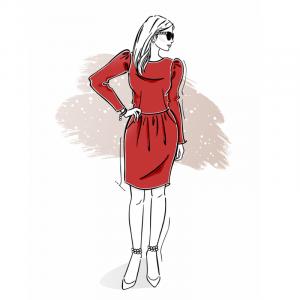 wykrój na świąteczną sukienkę damską