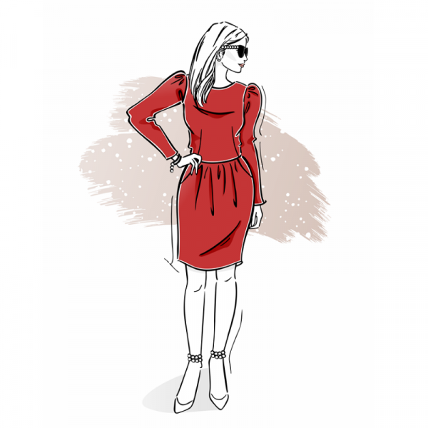 wykrój naświąteczną sukienkę damską