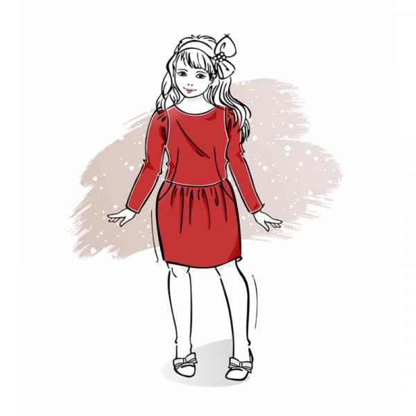 wykrój na świąteczną sukienkę dziewczęcą