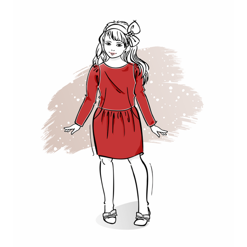 wykrój naświąteczną sukienkę dziewczęcą