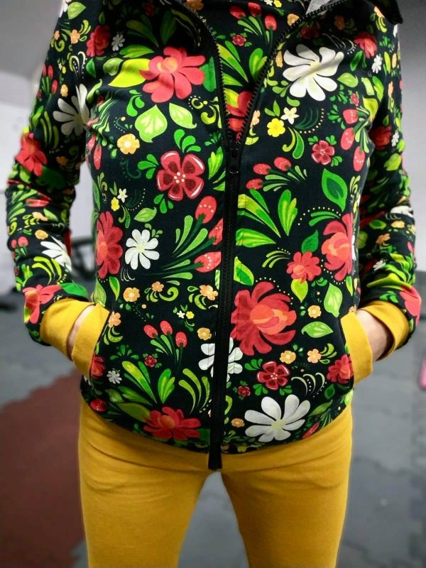 Wykrój na bluzę ze stójką damską i męską i spodnie dresowe damskie