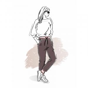 Wykrój na klasyczne spodnie damskie dresowe z kieszeniami