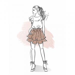 Wykrój na spódnicę damską Sara
