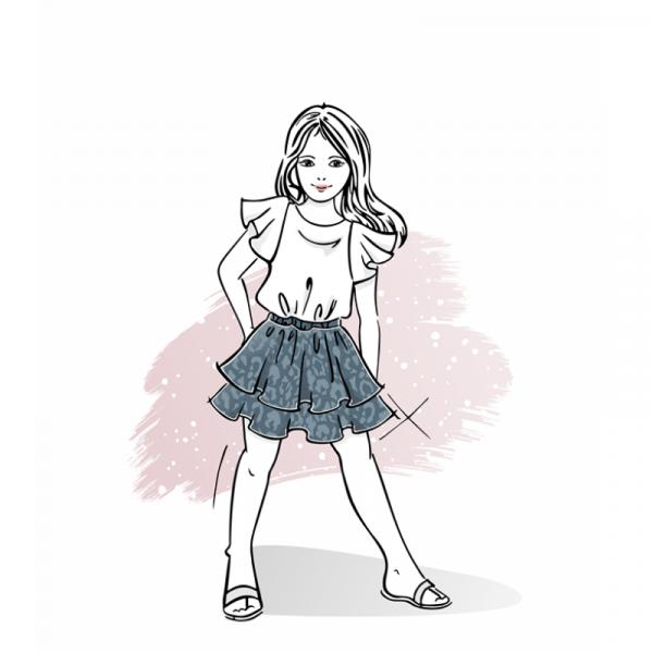Wykrój na spódniczkę dla dziewczynki Sara