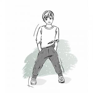 Wykrój na spodnie dresowe dla chłopca dziewczynki klasyczne