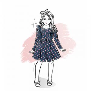 Wykrój na sukienkę dla dziewczynki Sonia