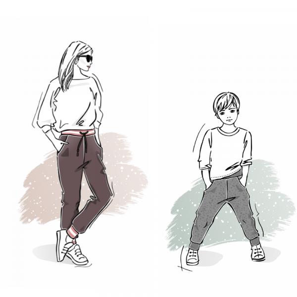 Zestaw wykrojów na spodnie dresowe klasyczne damskie i dziecięce