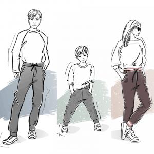 Zestaw wykrojów na spodnie dresowe męskie damskie dziecięce klasyczne