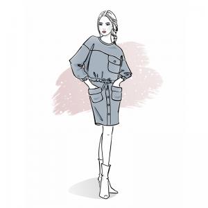 Wykrój na zestaw damski bluza i spódnica Milena