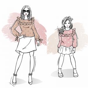Zestaw wykrojów na bluzki damska Monica dla dziewczynki Maja
