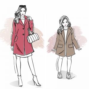 Zestaw wykrojów na płaszcz damski Marianna i dziewczęcy Laura