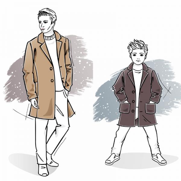 Zestaw wykrojów na płaszcz męski Massimo i chłopięcy Marcel