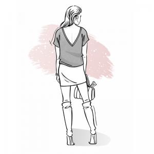Wykrój na bluzkę damską z dekoltem na plecach Kala