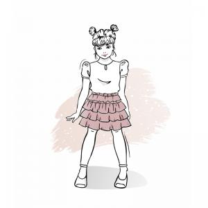 Wykrój na spódniczkę dla dziewczynki Kleo