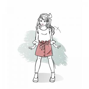 Wykrój na spódniczkę dla dziewczynki Karen