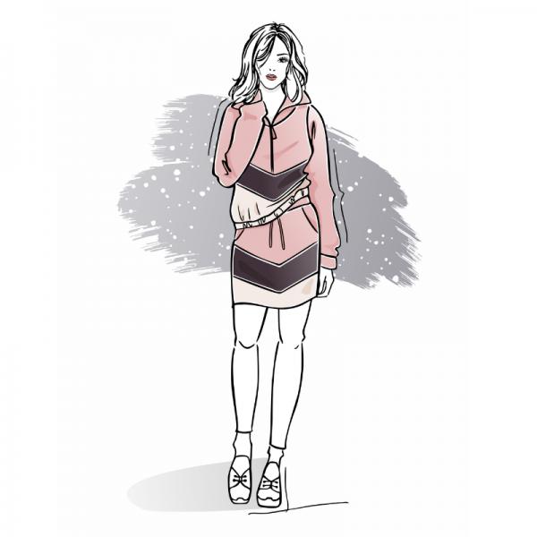 Wykrój na zestaw damski Katia bluza i spódnica