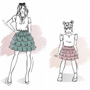 Zestaw wykrojów na spódnicę Kleo damską i dla dziewczynki