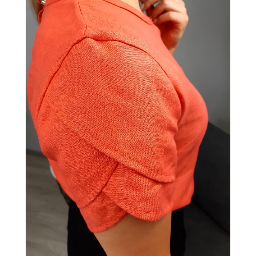 szkoła szycia online bluzka damska Jowita zozdobnym rękawem