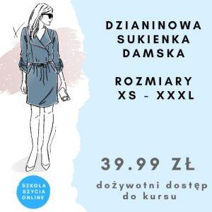 Szkoła szycia online sukienka damska dzianinowa