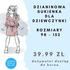 Szkoła szycia online sukienka dla dziewczynki dzianinowa