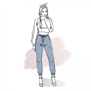 Wykrój na spodnie damskie joggery Amira