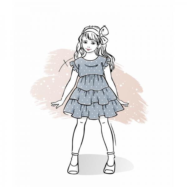 wykrój na sukienkę dla dziewczynki Larysa