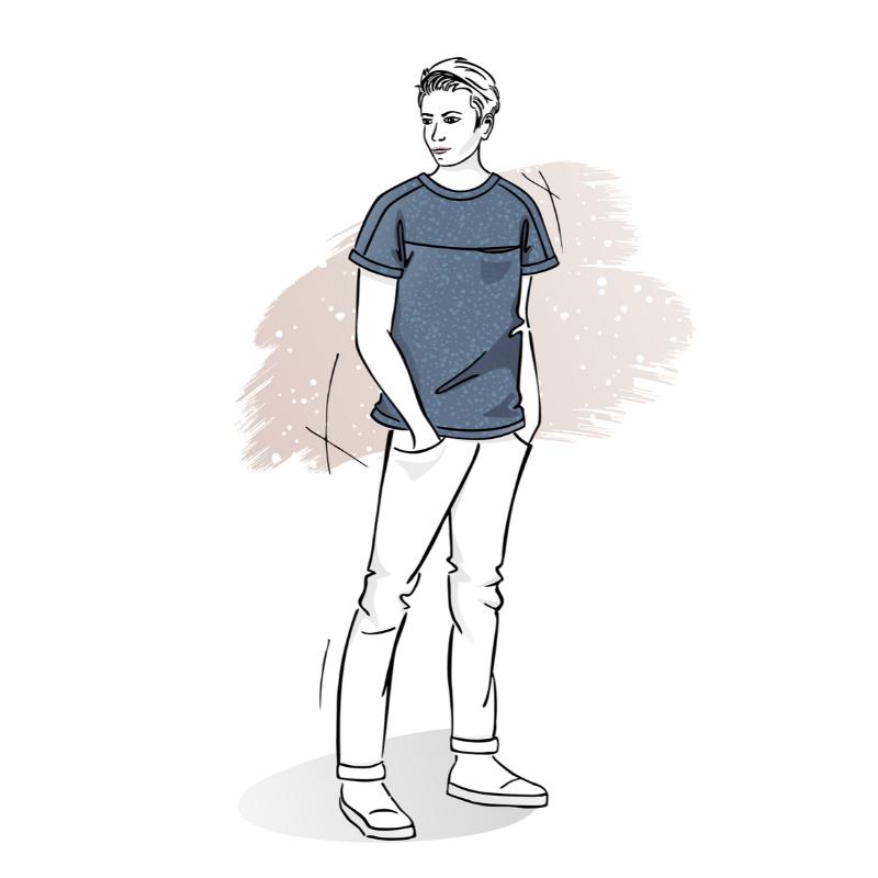 wykrój nat-shirt męski Adam