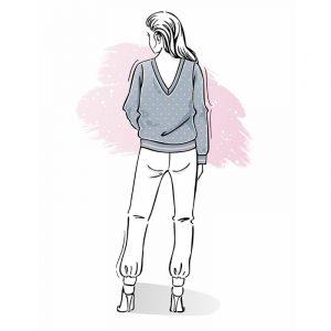 wykrój na bluzę damską z dekoltem V na plecach