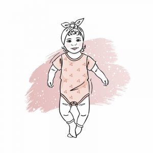 wykrój na body newborn z krótkim rękawem