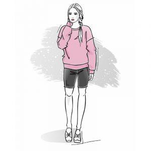 wykrój na bluzę damską oversize Celia i kolarki damskie leginsy krótkie