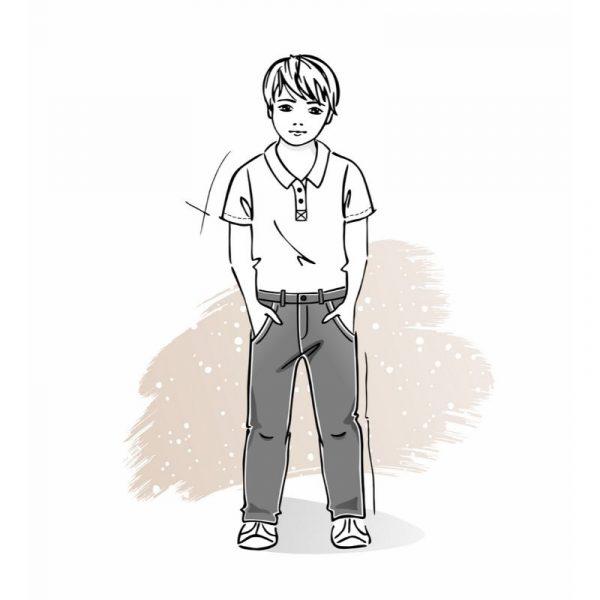 wykrój na spodnie chłopięce chinosy