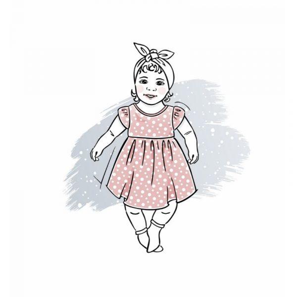wykrój na sukienkę newborn Calineczka