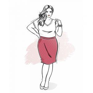 wykrój na spódnicę ołówkową damską plus size