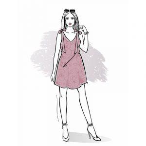 wykrój na sukienkę trapezową Paris