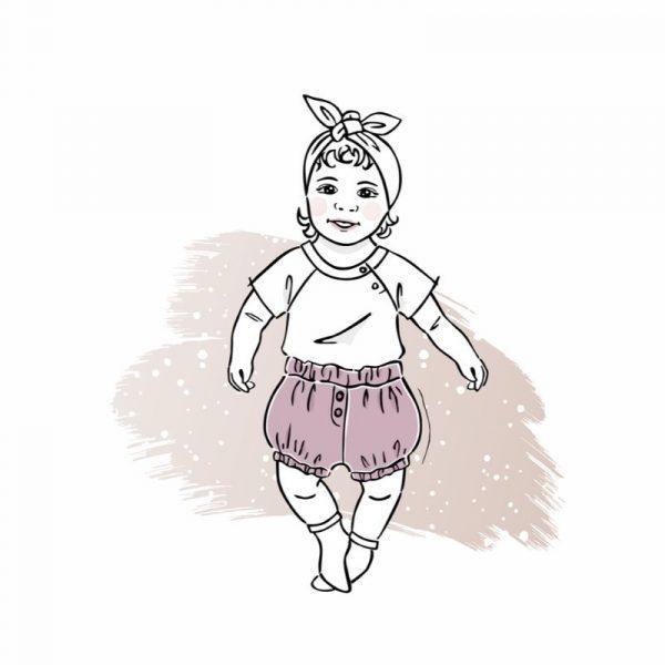 wykrój na szorty dla chłopca lub dziewczynki newborn