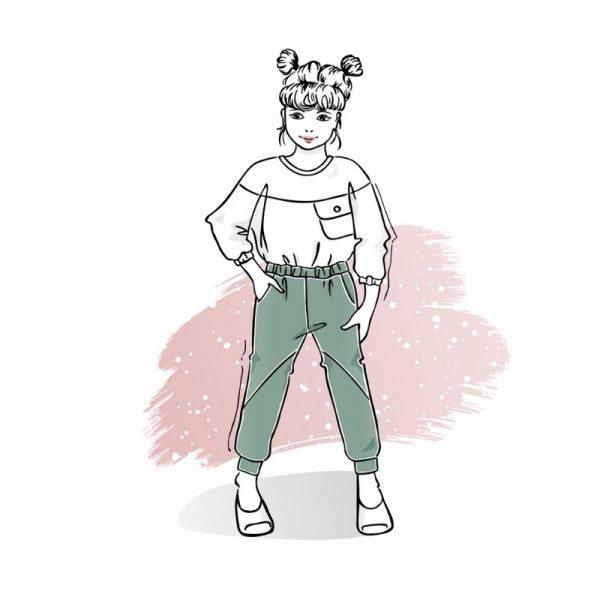 wykrój na spodnie baggy dla chłopca lub dziewczynki Rumba