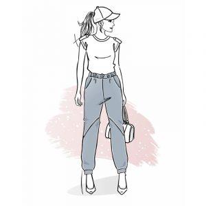wykrój na spodnie damskie baggy Rumba