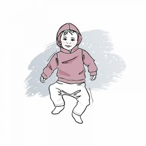 wykrój na bluzę z kapturem newborn