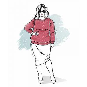 wykrój na bluzę damską z rękawem główkowym plus size