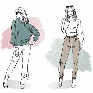 zestaw wykrojów na bluzę damską Werka i spodnie z wysokim stanem i kieszeniami