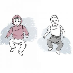 zestaw wykrojów na bluzę z kapturem i spodnie newborn