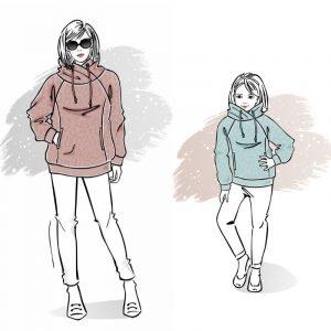 duet wykrojów na bluzę Wiola damską i dziecięcą