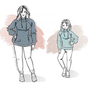 duet wykrojów na bluzy Wiola damską plus size i dziecięcą